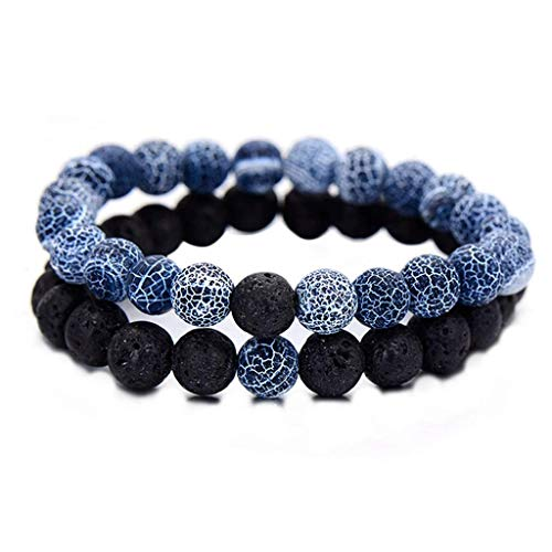 LIIYANN 2Pcs/Set Couples Jewelry Classic Distance Bracelet Bangle For Men Black Lava Beaded Bracelets Matching Yin Yang Personality Gift Gift