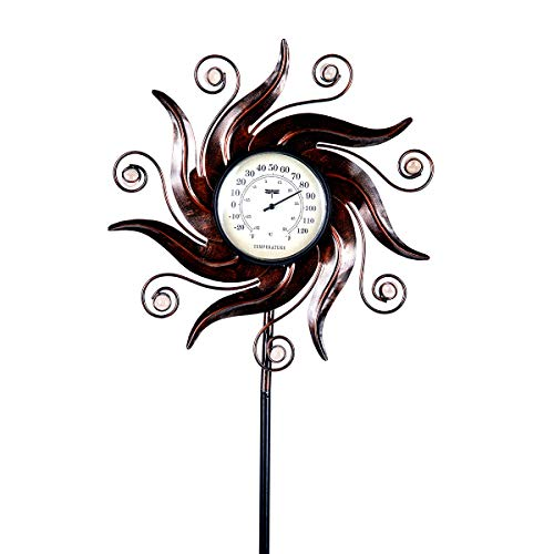 hourseat Outdoor Metal Thermometer Garden Stake Weather Resistant Outdoor Decoration for Homes, Yards and Gardens
