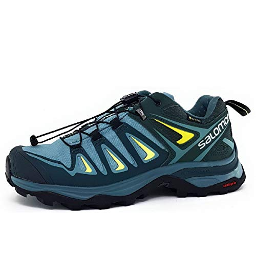 Salomon Women's X Ultra 3 GTX Hiking Shoes, ARTIC/Darkest Spruce/Sunny Lime, 9