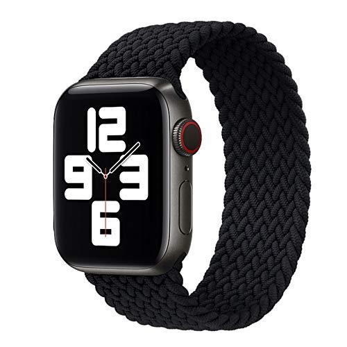 Lwwhama Reloj de reloj para Apple Watch Strap Series SE 6 5 4 3 2 1 Pulsera de nylon de tejido de banda de iWatch para AppleWatch Accesorios Pulseira Reloj ( Band Color : Black , Size : 38mm or 40mm )
