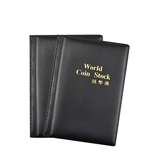MOPOIN Monedas Coleccion, 2 Pack Album para Monedas, 240 Bolsillos ÁLbum De Monedas, Colección De Monedas De Cuero PU para Coleccionistas De Monedas (Negro)