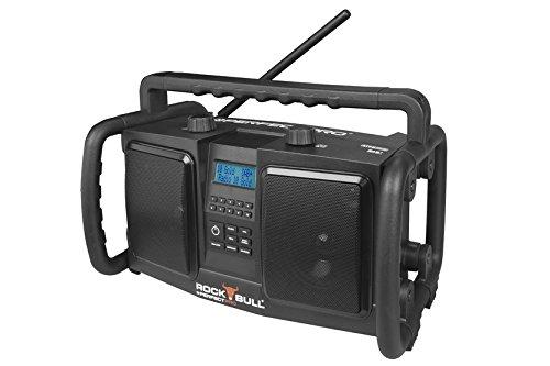 Perfectpro Rockbull Baustellenradio Outdoorradio mit DAB+, FM, RDS und AUX-In, LCD-Display mit Uhr, SurroundSound, leistungsstark und resistent gegen Wasser und Staub ideal für Garten und Camping