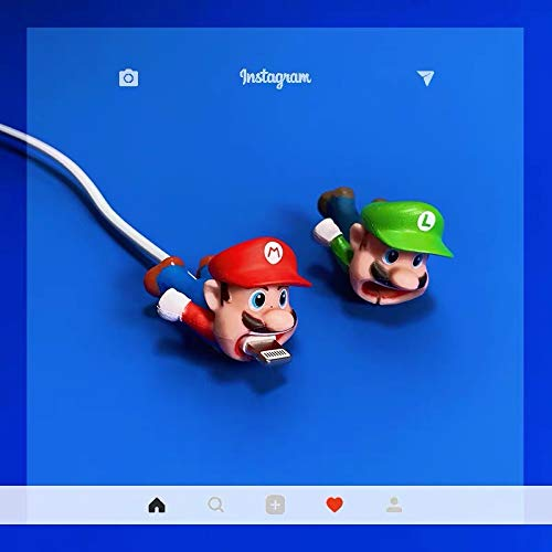 Cute Anime Bite Cable Protector - 2 PCS (Mario,Luigi) Charger Pet,Cable Buddy(Compatible with iPhone Cords Only),Gift Fit Friends & Children