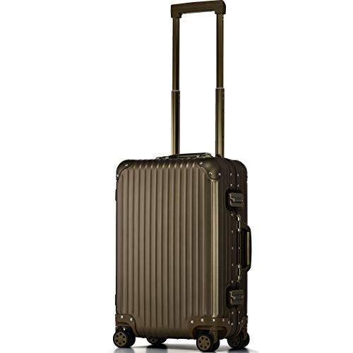 【PROEVO】 スーツケース アルミマグネシウム合金 アルミニウムボディ キャリーバッグ キャリーケース 8輪 ストッパー 予備キャスター4本付属 (【Sサイズ】チタンゴールド/カーボン)