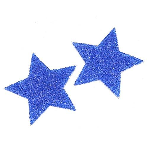 Apliques de diamantes de imitación Pegatina de diamantes de imitación Vestido brillante Boda nupcial para zapatos(8cm pure blue five-pointed star)