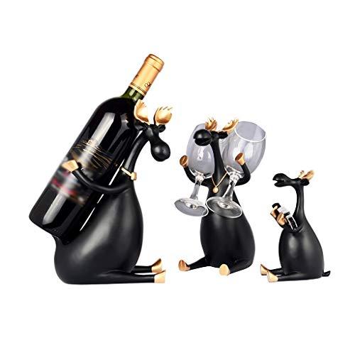 zxb-shop Almacenamiento de Botellas de Vino Creative Three Between The Decorative Wine Rack Hogar Salón Comedor Vinoteca Decoración Wine Rack Botellero de Mesa (Color : Gold, Edition : B)