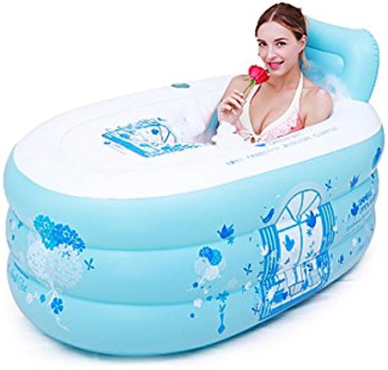 HTZ Bathtub Adult inflatable bathtub warm air bath environmental predection material (bluee, 130cm  70cm  70cm) A+