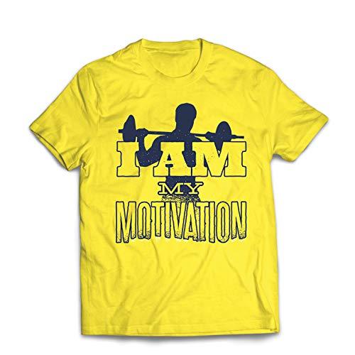 lepni.me Männer T-Shirt Ich Bin Meine Motivation, Gewichtheben, Kniebeugen, Kreuzheben (Medium Gelb Mehrfarben)