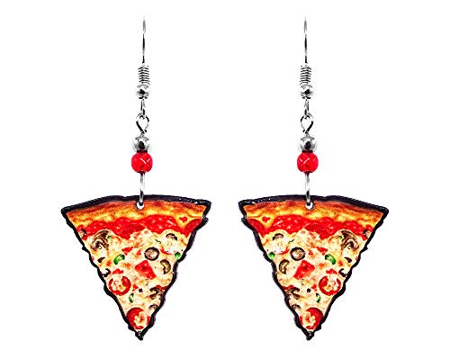 Pizza Slice Graphic Dangle Earrings - Womens Fashion Handmade Jewelry Food Themed Accessories...