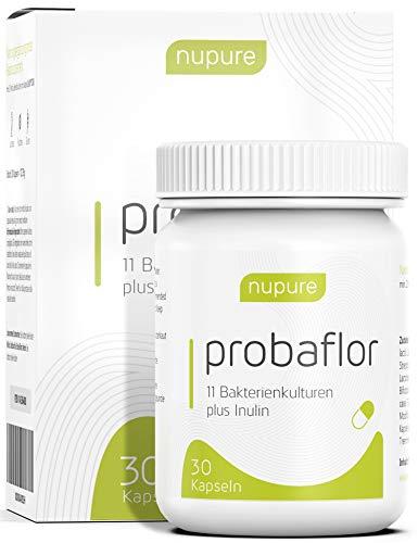 Nupure Probaflor - 1 Monatsvorrat - Kulturen Komplex - 30 magensaftresistente Kapseln mit Milchsäurebakterien, Bifidobakterien plus Inulin