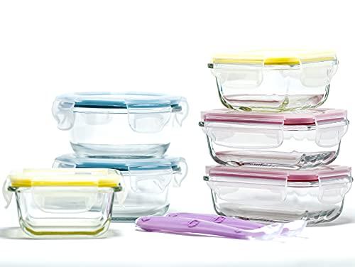 Little Home Planet® Contenedores de Alimentos para Bebe en Cristal con cucharas y estuche | Paquete de 6 | 2x200ml, 2x130ml, 2x160ml | Eliminación del 97% de los envases de plástico | Tapas sin BPA