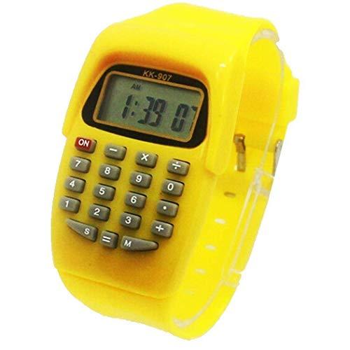 Praktischer Kinder Studenten Taschenrechner Digital Uhr Einfarbig Silikon Bequemes Tragen Taschenrechner Armbanduhr für Kinder