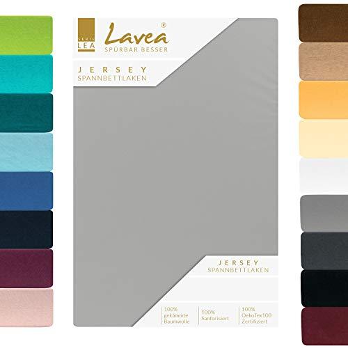 Lavea Jersey Spannbettlaken, Spannbetttuch, Premium Serie LEA, 200x220cm für Boxspring- und Wasserbetten, Silber, 100% gekämmte Baumwolle, hochwertige Verarbeitung, mit Gummizug und OekoTex100
