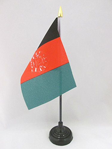 AZ FLAG TISCHFLAGGE Afghanistan 15x10cm goldene splitze - AFGHANISCHE TISCHFAHNE 10 x 15 cm - flaggen