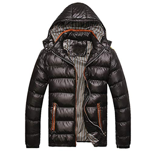 MT&HEOST Men's Winter Jackets Casual Parkas Thick Thermal Shiny Coats Slim Fit Black M
