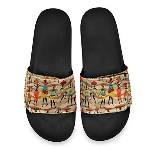 PUXUQU Ethnisch Stammes Afrikanisch Frau Druck Herren/DamenBadeschuheHausschuheSlippersVerstellbaren,SommerSlidePantolettenBadelatschenStrandSandalenrutschfestBadenBadelatschen