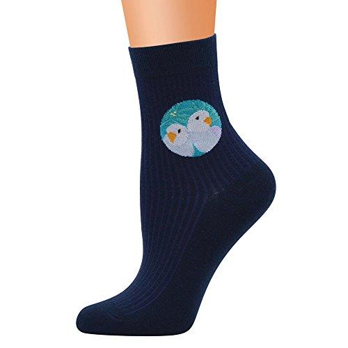 HOT SALE!Somerl Socken Strümpfe Niedliche Baumwollmedium-Vogel-Illustrations-Muster-Socken-Rohr-Socken(Dark Blue,Free)