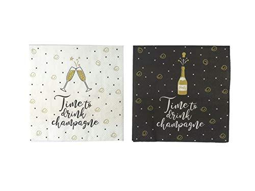 CasaJame Servietten (2er Set / 40Stück) 3-lagig 33x33cm schwarz weiß Gold mit Spruch Time to Drink Champagne