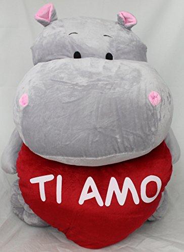 Dor Peluche Ippopotamo San Valentino con Cuore E Scritta Ti Amo 50 cm
