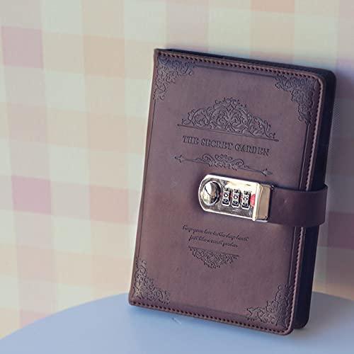 LIUCHEN cuadernoCuaderno retro vintage con contraseña, planificador de libros, oficina, señora, código de privacidad, protección de libros, papelería, marrón