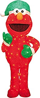 ProductWorks 32-Inch Pre-Lit Sesame Street Elmo in Green Santa Hat Christmas Yard Decoration, 70 Lights