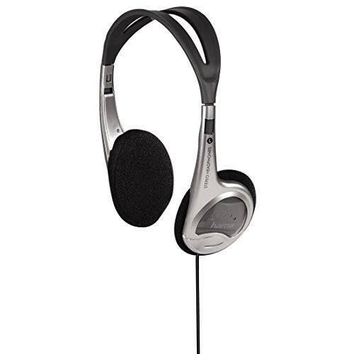 Hama Leichtkopfhörer HK-229 (On-Ear Super Bass, 70g leicht, Stereo, Kabellänge 150 cm, vergoldeter 3,5 mm Klinkenstecker, Kabelführung einseitig) silber