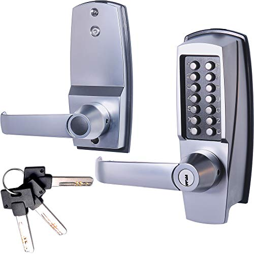 """MX600 Mechanical Push Button Lever Lock, 60mm 2 3/8"""" Backset Latch, 13 Digit Keypad, Keyless Entry Commercial & Residential, Fits Standard 2 1/8"""" Pre-Drilled Holes, Satin Chrome"""