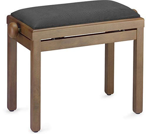 Cheap Stagg PB39 WNM VBK Piano Bench - Matte Walnut with Black Velvet Top (Renewed)
