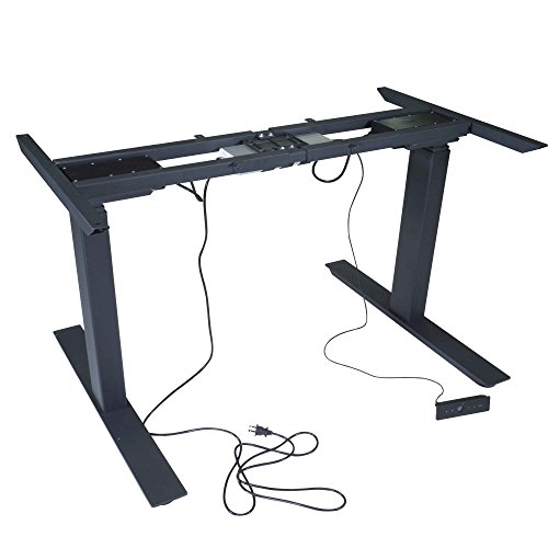 """Titan Dual Motor Electric Adjustable Base Height Sit-Stand Standing Desk Frame 50"""" H 63"""" W Programmable Buttons"""