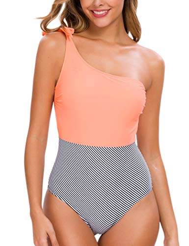 Tempotrek One Piece Swimsuits One Shoulder Bowknot  Swimwear Stitching Color Block Bathing Suit