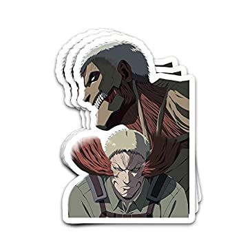 Bowersk Attacks On Titans Manga Series Fanart Reiner Titans Form Halloween Japanese Stickers for Laptops Tumblers Books Luggages Cases Pack 3x4 in Vinyl 3pcs/Pack