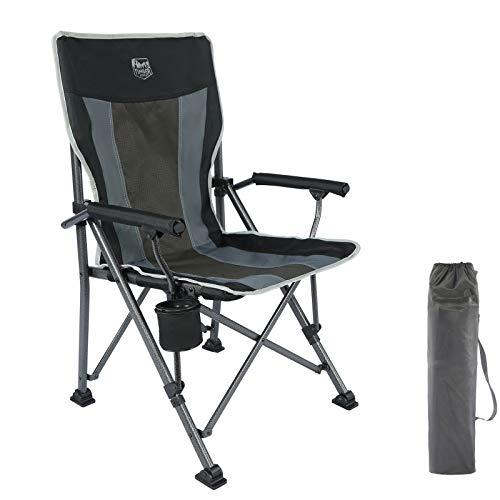 Timber Ridge Campingstuhl faltbar mit hoher Rückenlehne belastbar bis 135kg mit Getränkehalter harten Armlehne Klappstuhl tragbar für Camping Picknick Garten Balkon schwarz