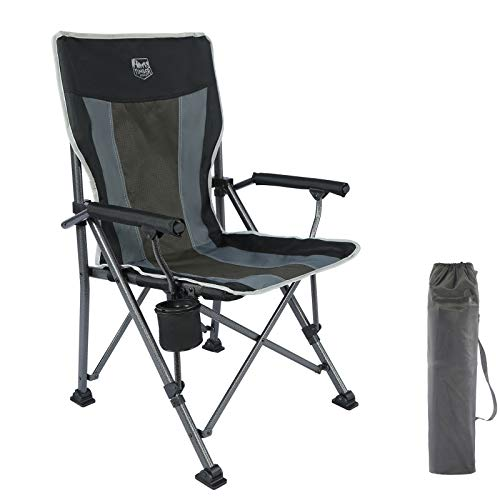 Timber Ridge Camping Chair Ergonomic High Back Support 135kg with Carry Bag Arm Chair Folding Quad Chair Outdoor Heavy Duty Padded Armrest Cup Holder