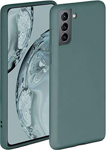 ONEFLOW Soft Hülle kompatibel mit Samsung Galaxy S21 Hülle aus Silikon, erhöhte Kante für Displayschutz, zweilagig, weiche Handyhülle - matt Petrol