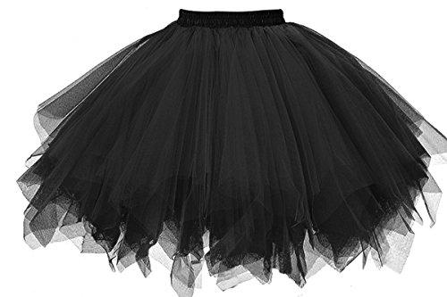 GOOBGS Musever 1950s Vintage Ballet Bubble Skirt Tulle Petticoat Puffy Tutu Black Small/Medium