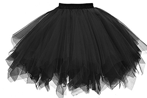 MuseverBrand 50er Vintage Ballet Blase Firt Tulle Petticoat Puffy Tutu Black Small/Medium