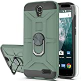 YmhxcY Case for ZTE ZMAX Grand LTE/Grand X3/ZMAX Champ/Warp 7/Avid 916/Z959 with HD Screen Protector 360 Degree Rotating Ring Kickstand Holder Dual Layers of Shockproof Phone Case for N9519-ZS Green