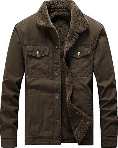 Vcansion Men's Classic Cotton Fleece Lined Windproof Jacket Coat Military Style Outerwear Army Green M