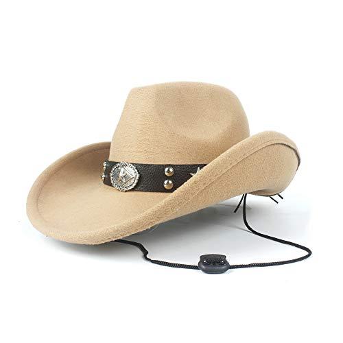 No-branded HOUJHUS Moda Mujer Hombre Unisex de Lana Hollow Western Cowboy Hat for Caballero Señora Sombrero Cap Papá Fedora Hat (Color : Beige, Size : 56-59cm)