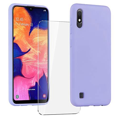 Oududianzi Coque pour Samsung Galaxy A10 + [1 Pièces] Verre Trempé écran Protecteur, [Ultra Mince] Étui Souple de Silicone TPU, Intérieur Microfibre, Housse Anti Rayures - Violet