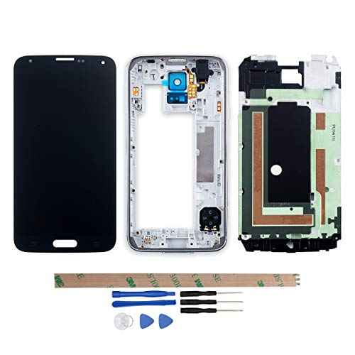 YHX-OU - Pantalla táctil LCD de Repuesto para Samsung Galaxy S5 I9600 SM-G900 G900F (no Compatible con G900H) (Marco 03EB), Color Negro