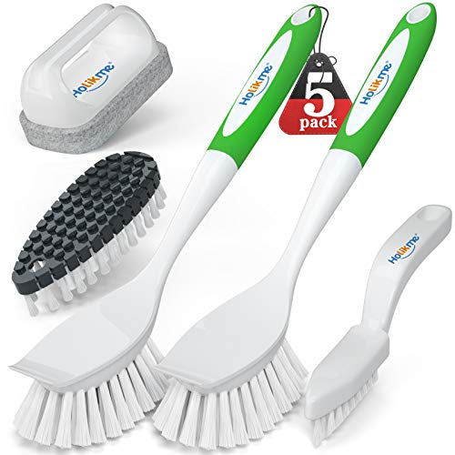 Holikme 5 Pack Kitchen Cleaning Brush Set, Kitchen Scrub Brush&Bendable Clean Brush&Groove Gap Brush&Scouring Pad for Pot and Pan, Kitchen Sink, Green