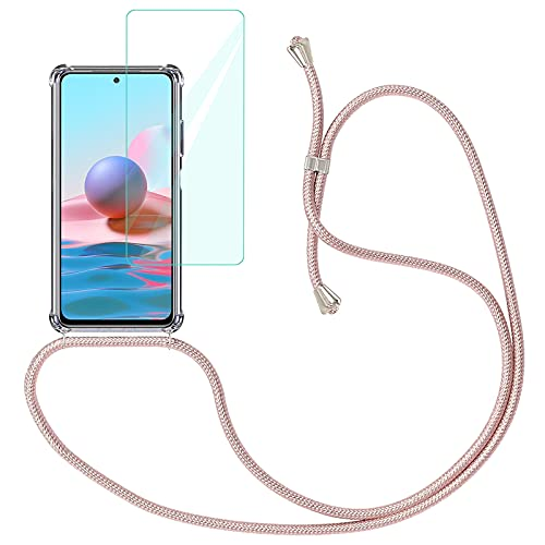Yohii Funda con Cuerda para Xiaomi Redmi Note 10 4G / Note 10S + Protector Pantalla de Cristal Templado, Carcasa Transparente TPU Suave Silicon Colgante Ajustable Collar - Oro Rosa