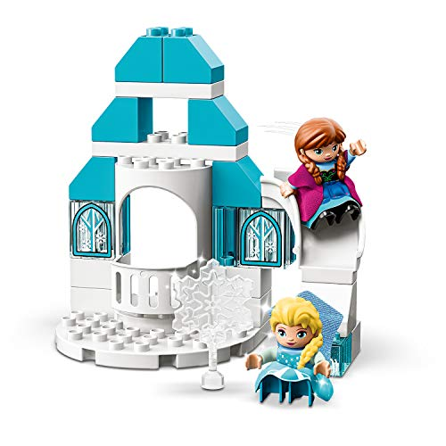 LEGO10899DUPLODisneyPrincessFrozenIceCastleBuildingBricksSetwithLightBrick,PrincessElsaandAnnaMiniDollsandSnowmanFigure,Toysfor2YearsOldGirl&Boy