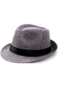 BABEYOND 1920s Panama Fedora Hat Cap for Men Gatsby Hat for Men 1920s Mens Gatsby Costume Accessories  Gray Polyester