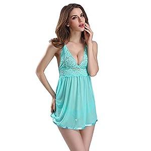 Lingerie for Women Sexy Mesh Chemises V Neck Sheer Sleepwear Lace Teddy Babydoll