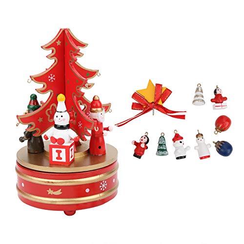 Fockety Caja de música navideña portátil, Duradera y Natural, Libre de contaminación, para Regalo navideño Familiar(Red)