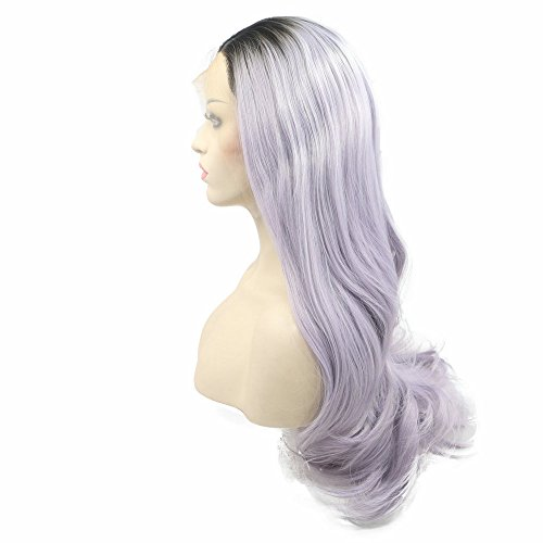 Colocasia Purple Ombre Synthetic Lace Front Wigs For Party Long Pastel Color Hair For Women Drag Queen Handmade Natural Hairline 24\