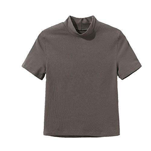 Nobrand Street Navel halber Kragen Kurzarm T-Shirt Base Shirt Slim Short Top Sommer Gr. M, grau