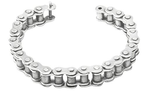 Silber Armband Steuerkette 12 mm - hochwertige Goldschmiedearbeit aus Deutschland (Sterling Silber 925) massives Silberarmband, Motorrad Fahrrad Steuer Kette, Biker Chain - Herrenarmband und Damenarmband